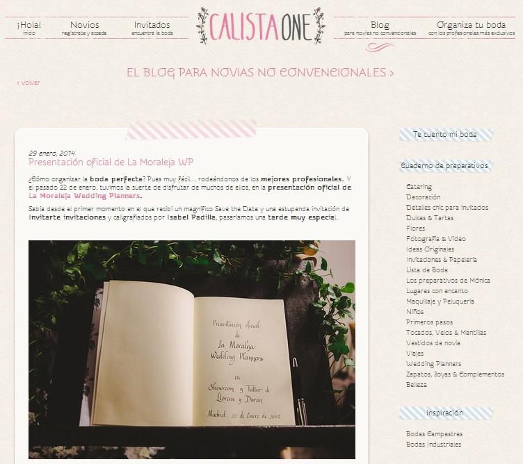 Calista One en la presentación de La Moraleja Wedding Planners