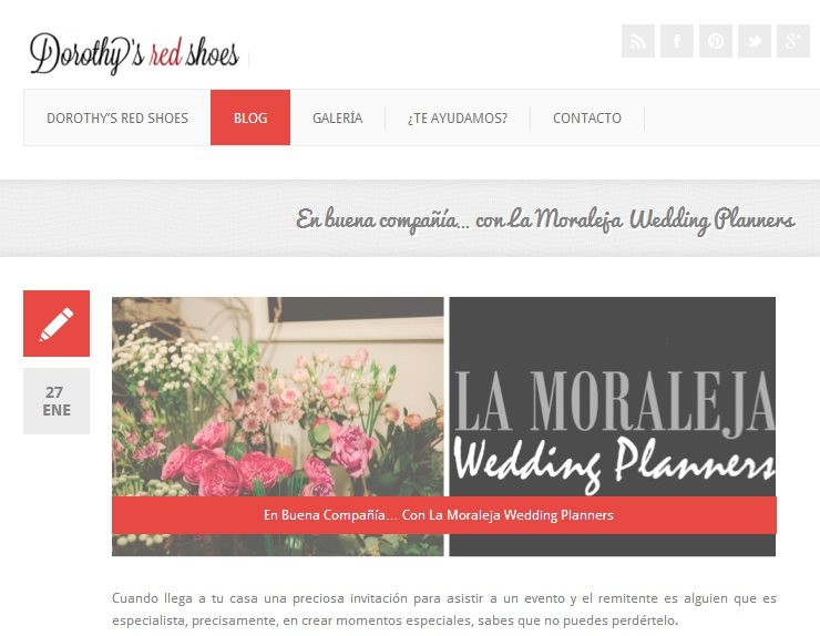 """En buena compañía… con La Moraleja Wedding Planners"" en Dorothy´s red shoes"