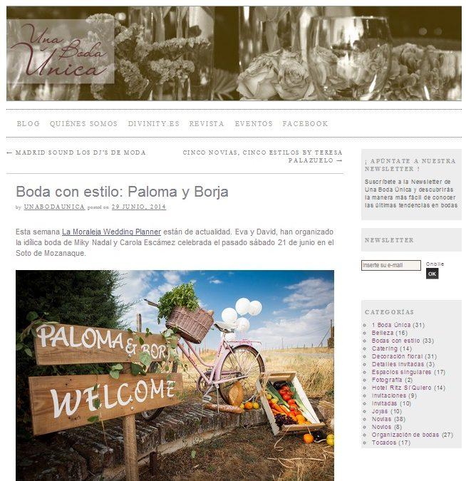 """La Boda de Paloma y Borja en el Blog """"Una Boda Única"""""""